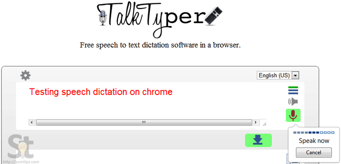 Free Online Speech to Text Dictation Application : TalkTyper