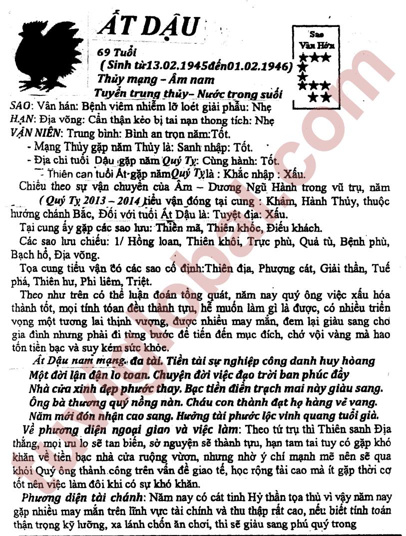 TỬ VI TUỔI ẤT DẬU 1945 NĂM 2013 (QUÝ TỴ) - Blog Trần ...
