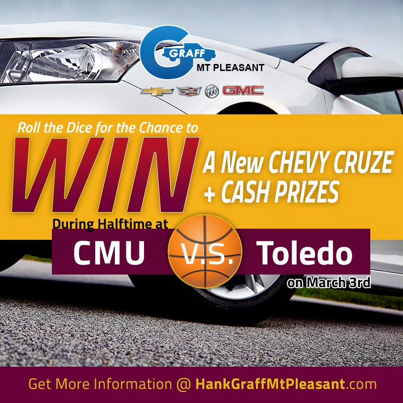 WIN New Chevy Cruze & Cash Prizes at the CMU Basketball Game on March 3rd!