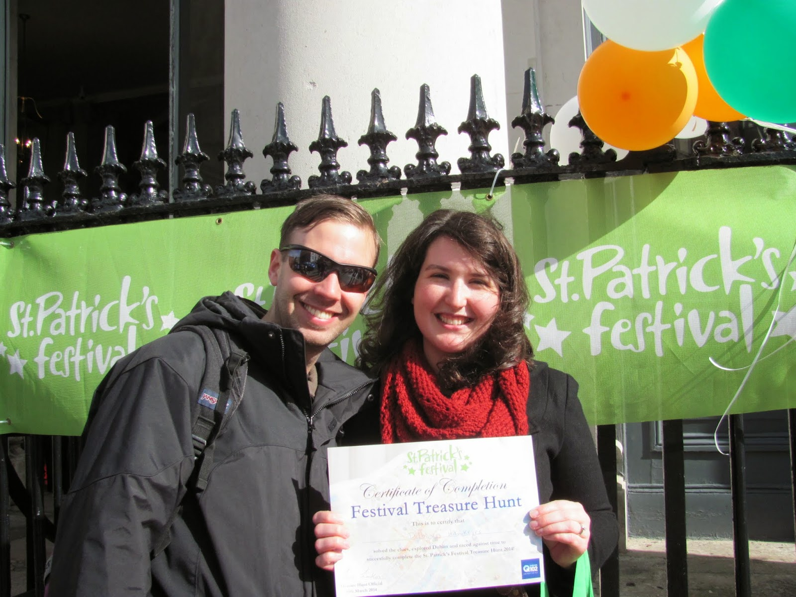 Cory and Sara With Treasure Hunt Completion Certificate Dublin, Ireland