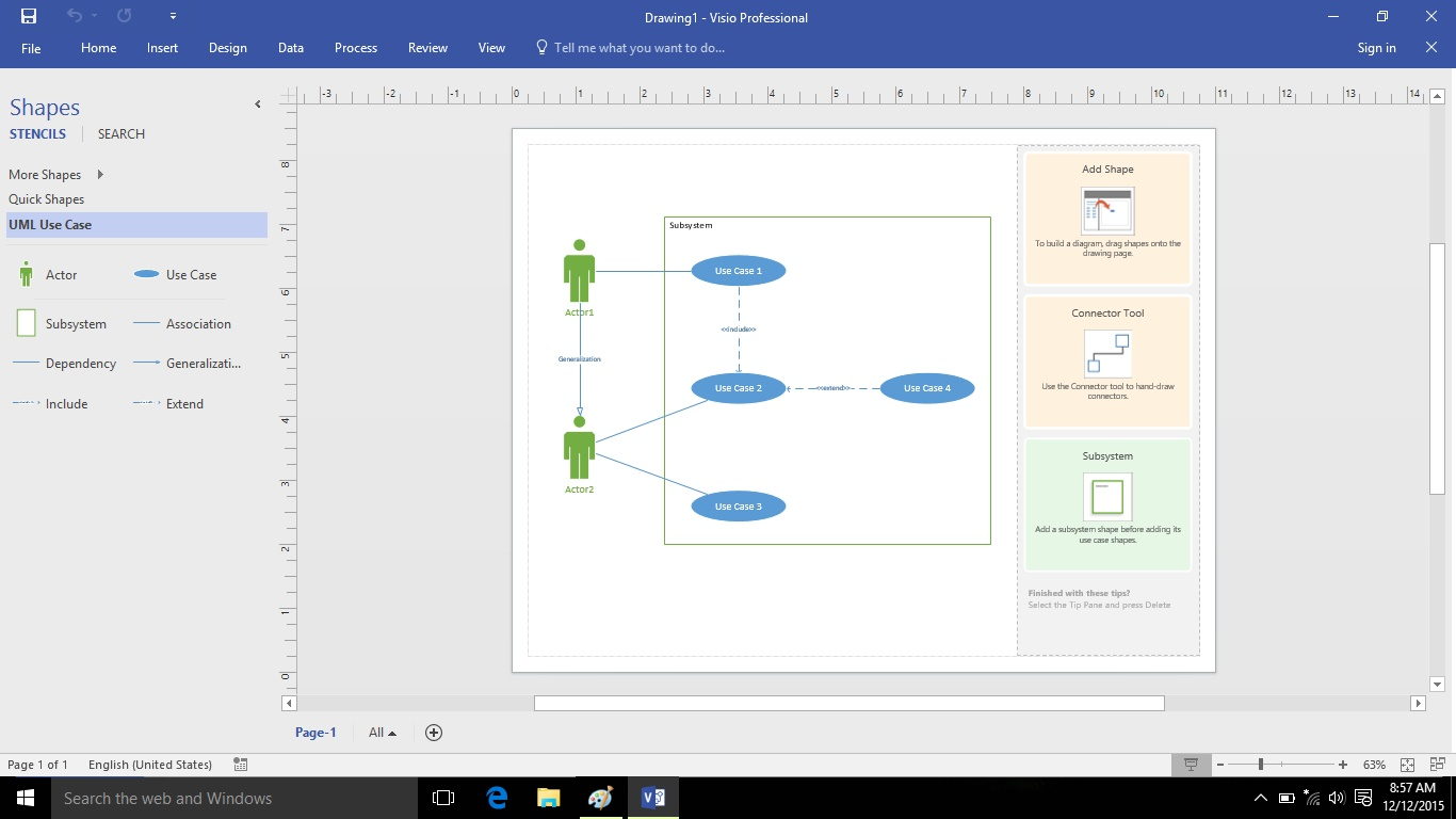 Cara membuat use case diagram menggunakan visio 2016 menulis dan setelah dipilih maka akan muncul tampilan seperti di bawah ini jika kita memilih salah satu template yang disediakan kita dapat langsung mengganti nama ccuart Gallery