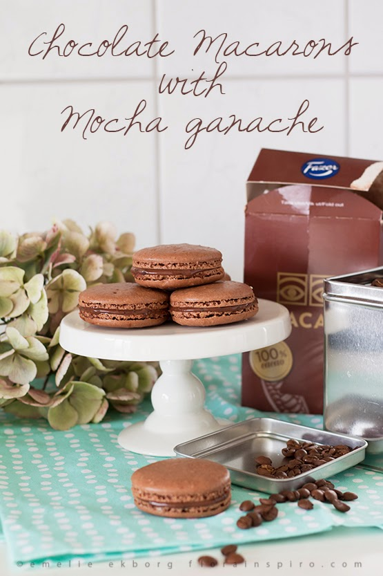 Chocolate Macarons with Mocha Ganache, chocolate macarons, chocolate ganache, tips piping bag, how to use a pipng bag, macaron recipe, how to make macaraons