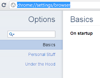 Google Chrome Settings opens in Browser