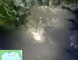 Aerial view of spill a month after explosion, with inset locator map