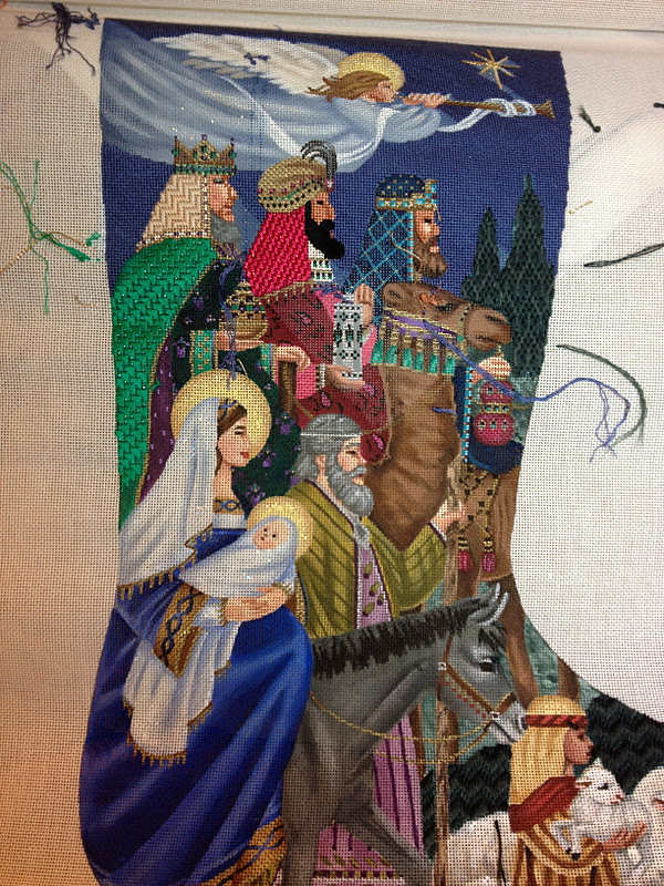 Overview & stephu0027s stitching: Tapestry Tent Nativity Stocking