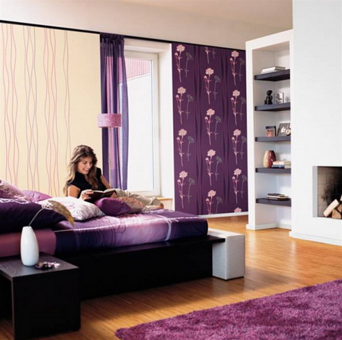 Pretty Purple Interior Bedroom Wallpaper Designs Wooden Floor
