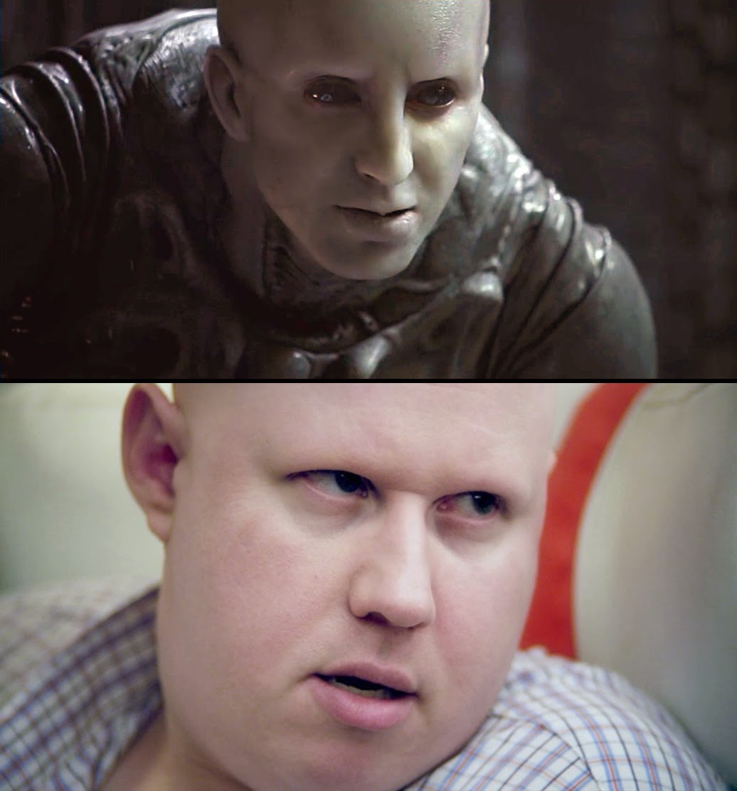comparing the Engineer from Prometheus to Matt Lucas' character Franklin Franklin in Small Apartments