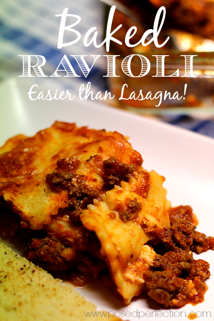 "Baked Ravioli ""Lasagna"" is going to revolutionize dinner! Just 5 ingredients is all you need!"