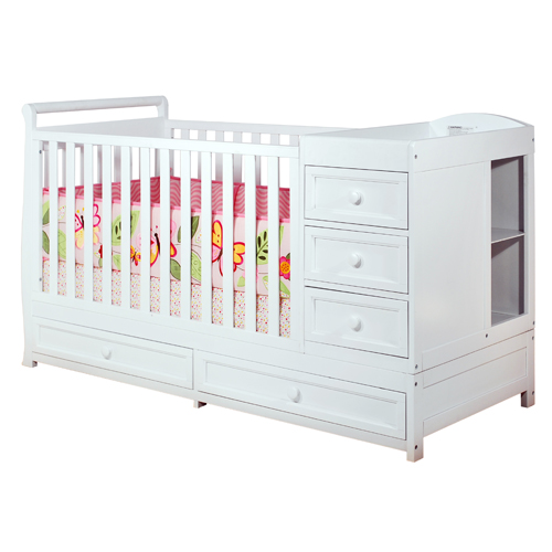 White Crib and Changer Combo