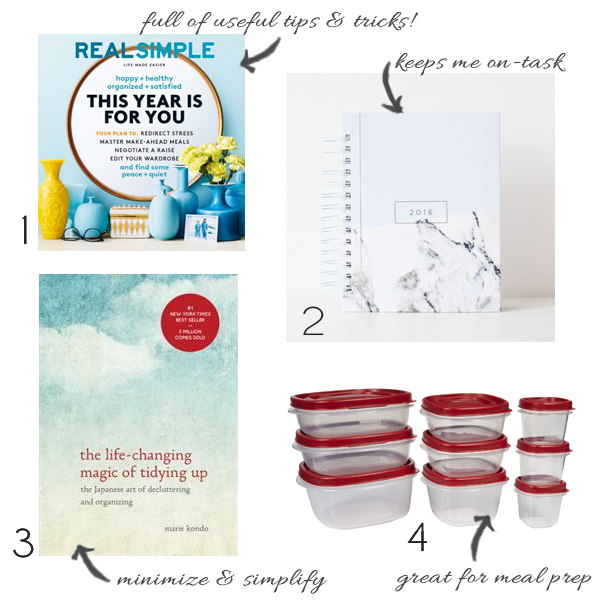 Real Simple magazine, Rubbermaid containes perfect for food prep, Design Love Co. Planner, Marie Kondo