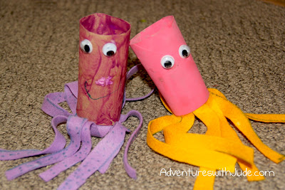 cardboard towel roll and felt octopus