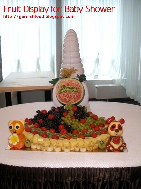 teddy bear fruit sculpture and panda apple sculpture