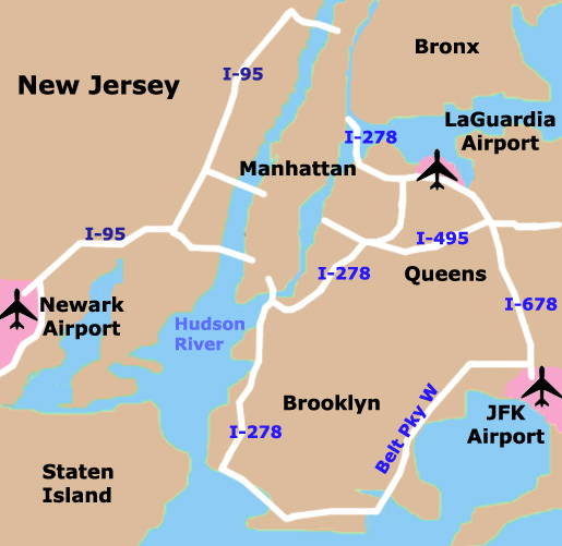 new york city airport map