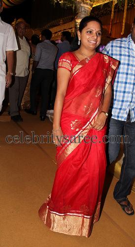 Kavitha Red Silk Kota Saree