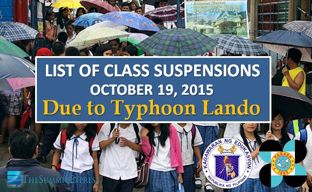 List of class suspensions for Monday, October 19, 2015