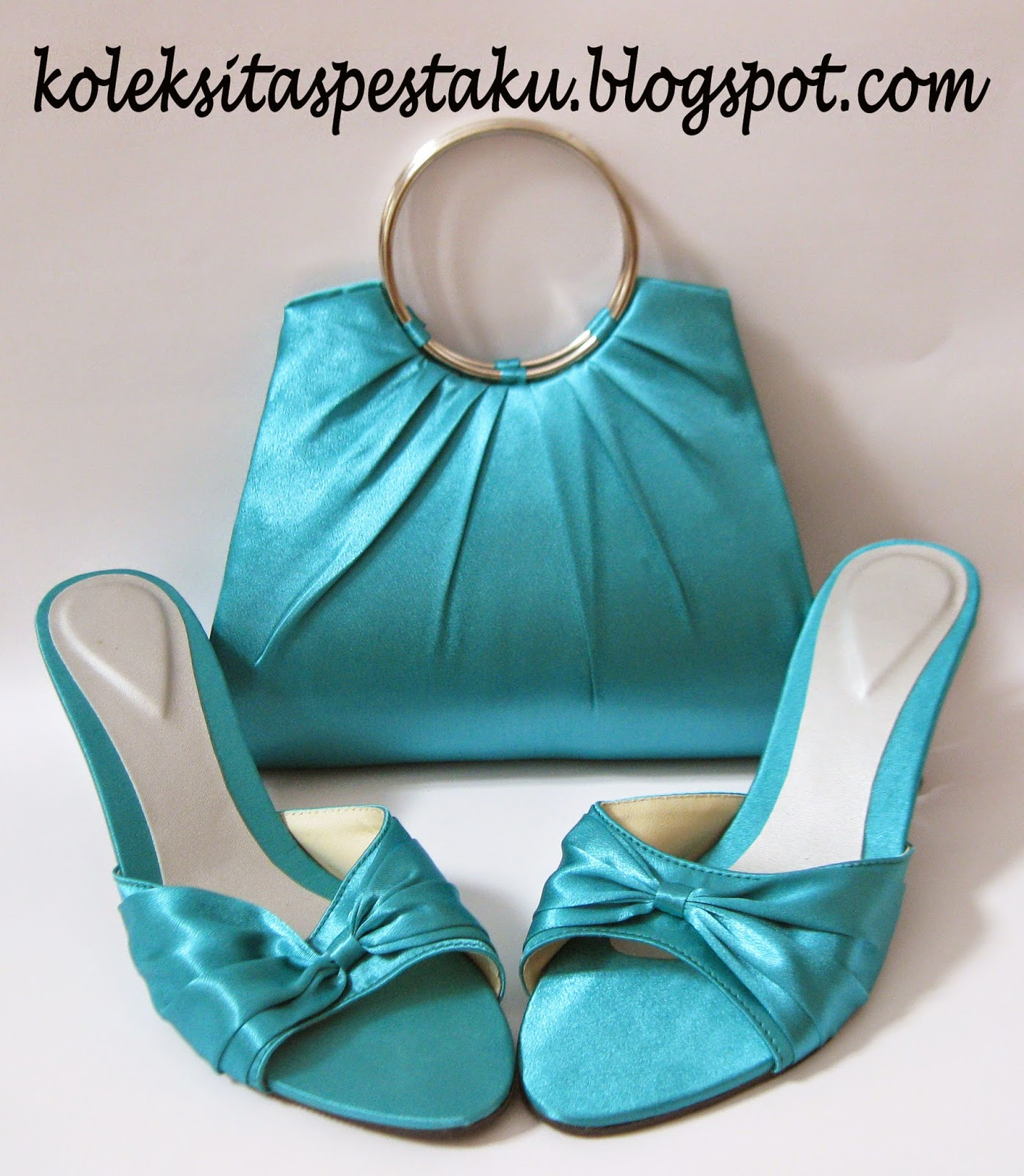 Tas Pesta Mewah Sandal Sepatu Mewa Cantik BiruTosca