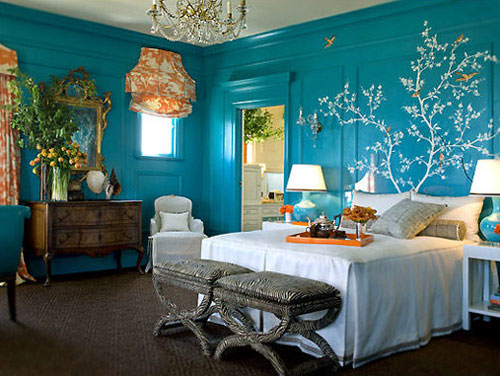 Silver and teal bedroom