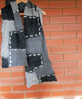 mens scarf, men scarf, grey scarf, felted, felt