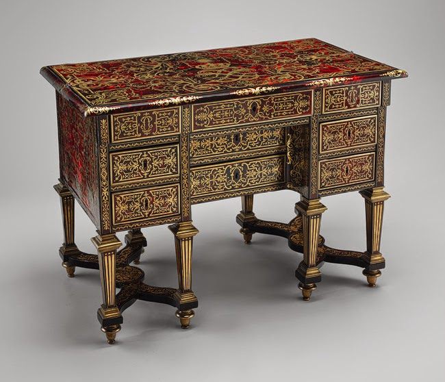 Writing desk (bureau brisé), ca. 1685, Alexandre-Jean Oppenordt, maker; Jean Berain (French, 1640–1711), engraver. Oak, pine, and walnut veneered with ebony, rosewood, and marquetry of engraved brass on tortoiseshell; gilt bronze, steel