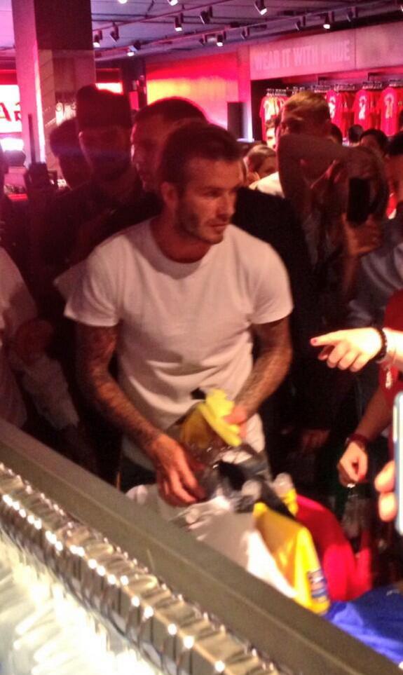David Beckham spotted shopping at Manchester United Megastore