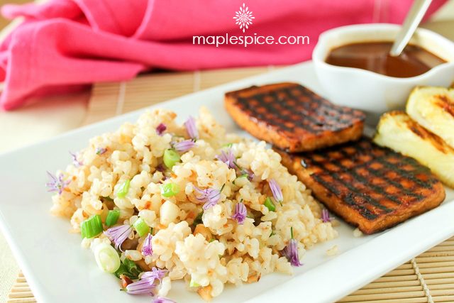 Grilled Hawaiian Tofu with Baked Macadamia Nut & Coconut Brown Rice. Vegan and Gluten-Free Recipe.