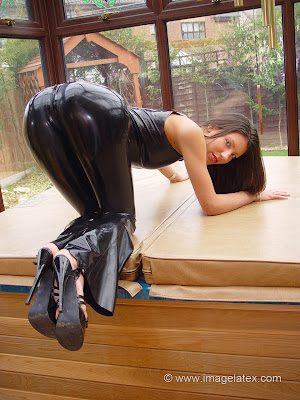 hot Brunette Candice Amazing Ass in the air Tight Black Latex
