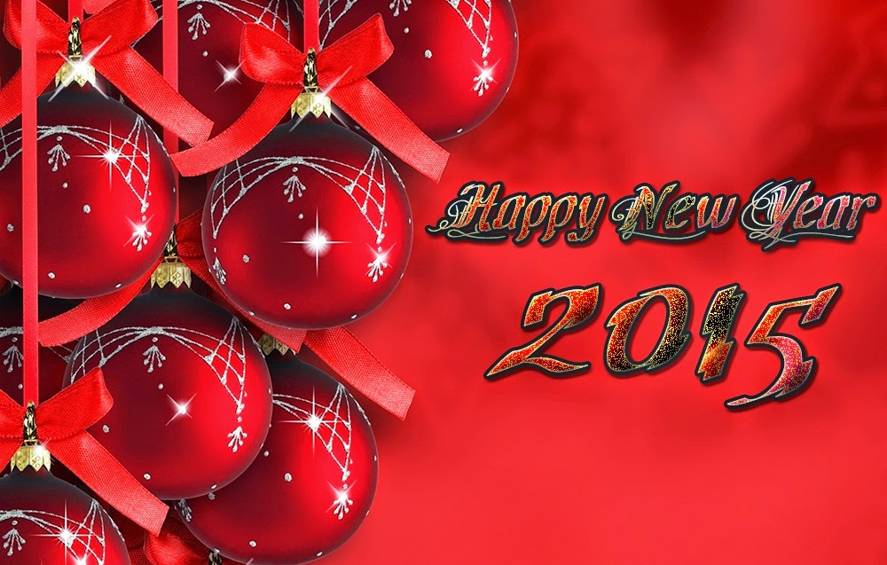 Red Christmas Balls Happy New Years Wishes Wallpapers 2015