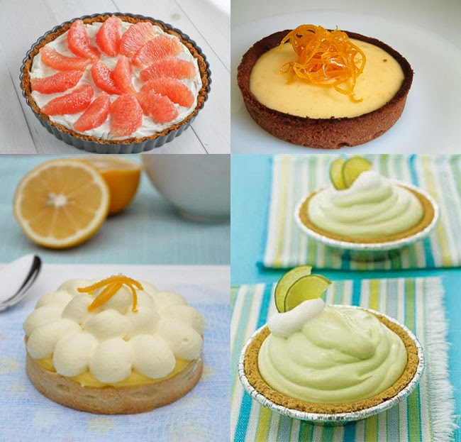 Grapefruit, orange, lemon, lime tarts