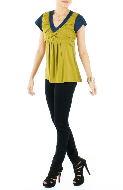 Chartreuse Swing Blouse With Contrast Detail