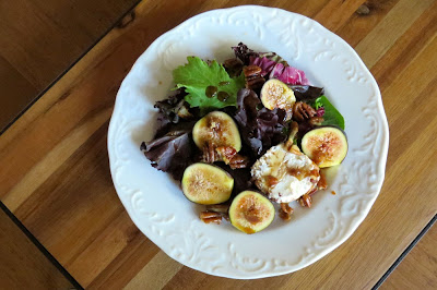 Composed Salad of Figs, Baby Greens, Goat Cheese and Candied Pecans on Board