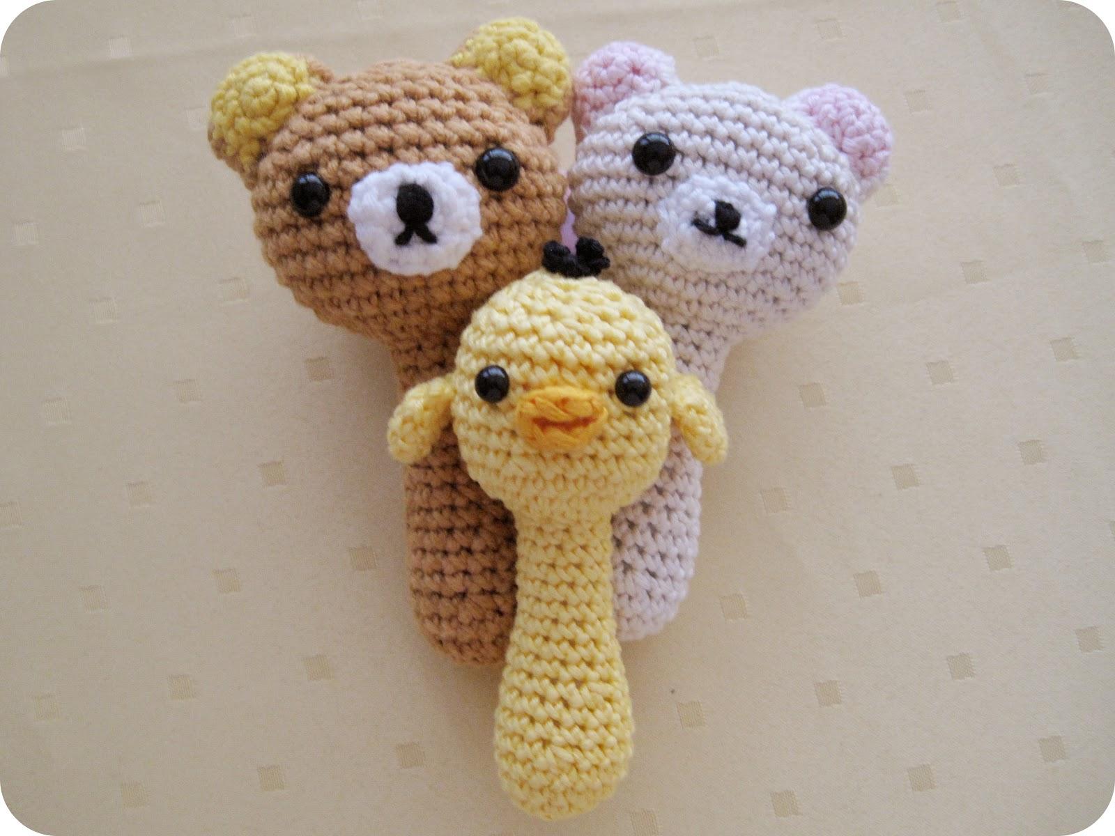Diy Free Crochet Pattern For Baby Rattles : Baby Rattles: Rilakkuma, Korilakkuma & Kiiroitori ...