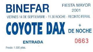 entrada concierto binefar coyote dax