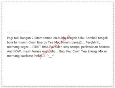 Testimoni, Cinch Tea Mix, Produk SHAKLEE, Independent SHAKLEE Distributor, Pengedar Shaklee Kuantan, Info, Kongsi, Info Sihat,