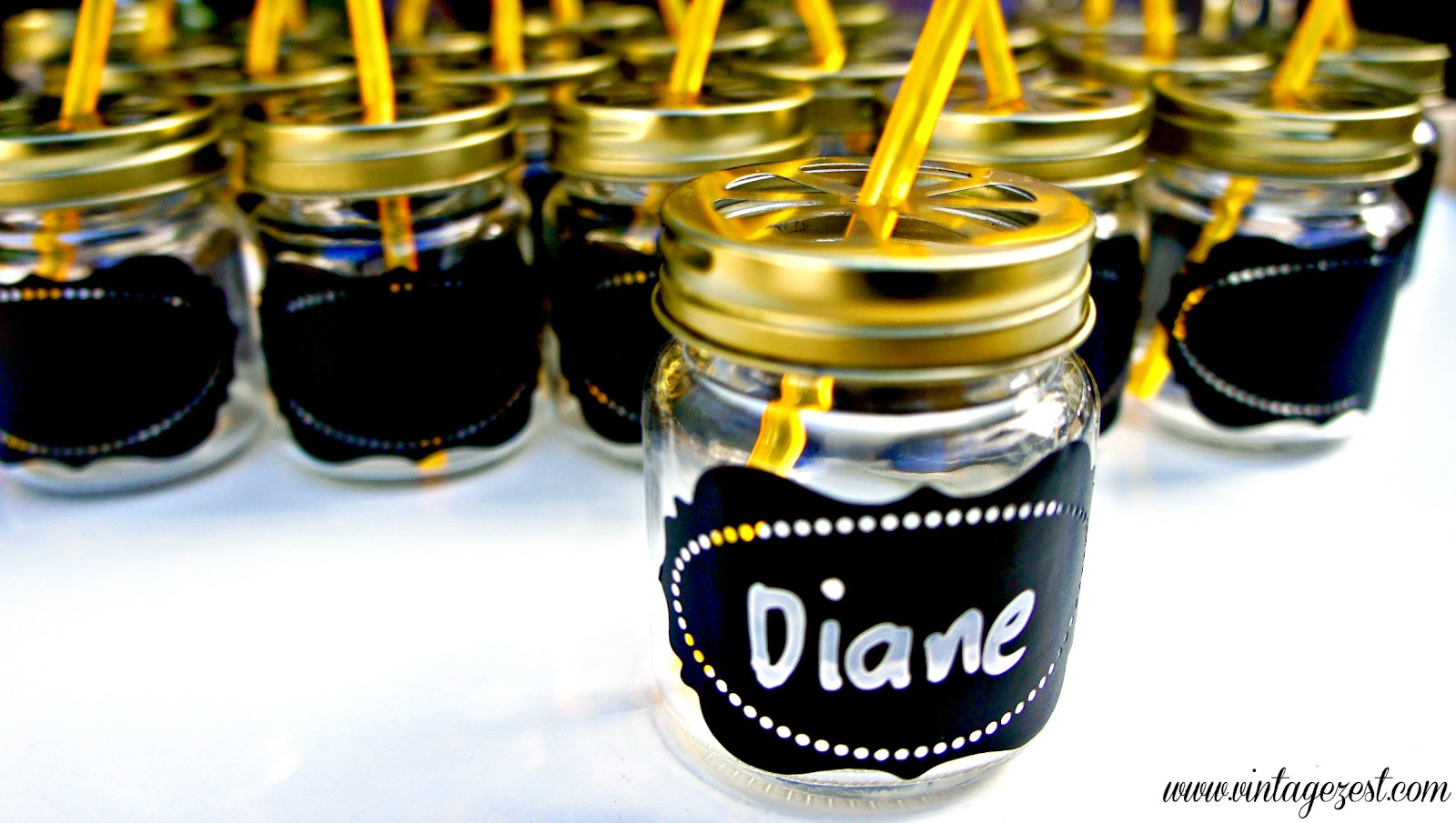 Mini Mason Jar Tumblers with Faux Chalkboard Labels on Diane's Vintage Zest!