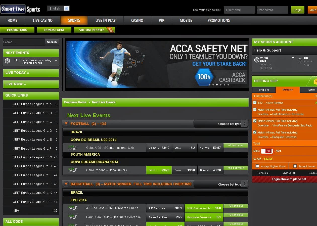 Smart Live Sportsbook Screen