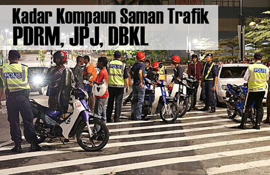 Kadar Kompaun Saman Trafik PDRM, JPJ, DBKL