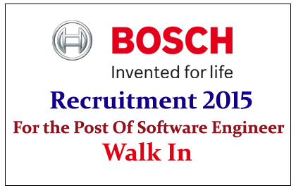 BOSCH Hiring for the Post of Software Engineer 2015