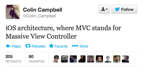 """iOS architecture, where MVC stands for Massive View Controller"""