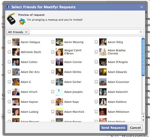 Now from any event page you can get a list of all your Facebook friends and select the ones you want to invite your event.