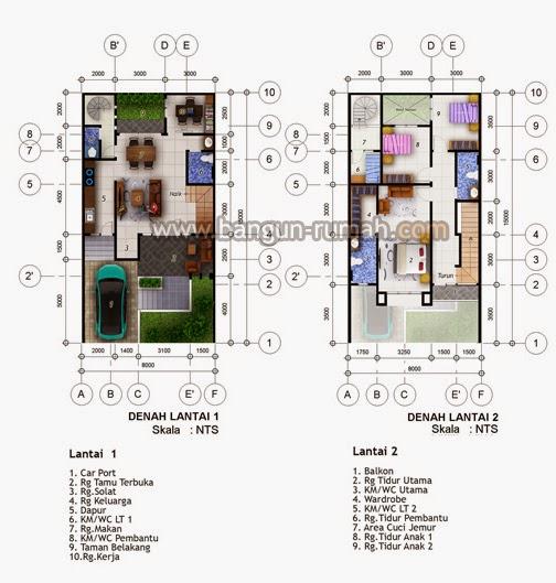 Desain Rumah Minimalis 2 Lantai - Denah