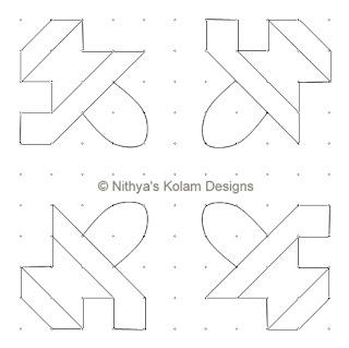 4 Siva Lingam Kolam  dots 11 x 11
