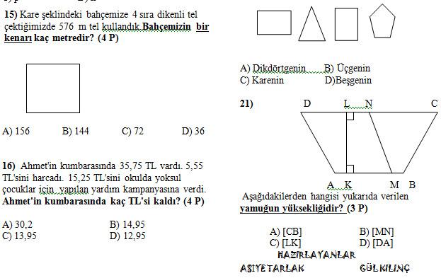 Sınıf matematik 2 dönem 1 yazılı soruları