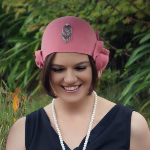 Pink 1920s stlye cloche by Tanith Rowan Designs
