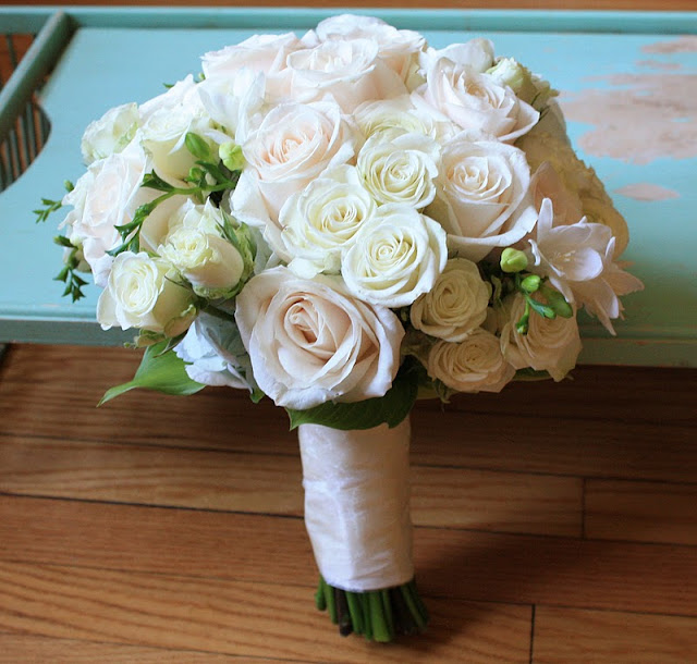 Vendela rose, spray rose, white freesia, ranuculas bridal bouquet  - Splendid Stems Floral Designs