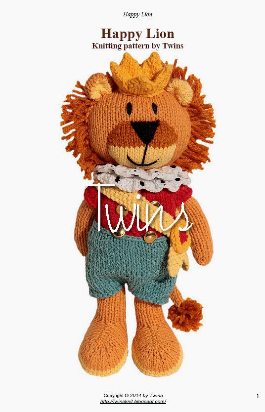 Twins knitting pattern minishop happy knitted lion in english knitted lion dt1010fo