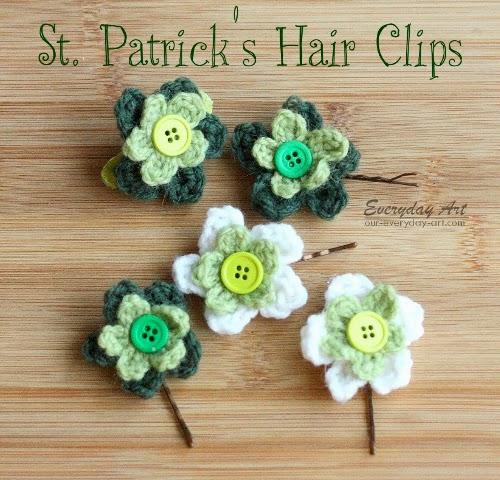 Everyday Art St Patricks Hair Clips Crocheted Spring Flowers