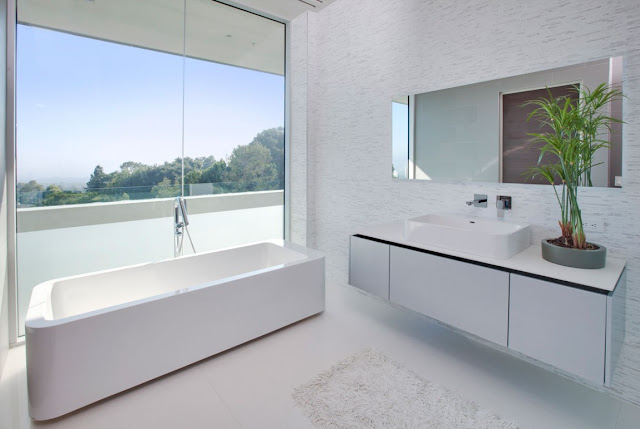Bright white modern bathroom