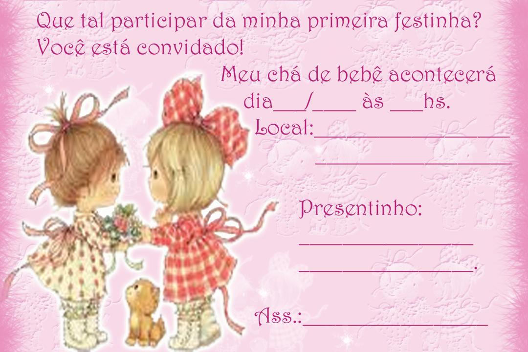 Convite Ch   De Beb   Gratuito   Modelo Menininhas      S   Imprimir E