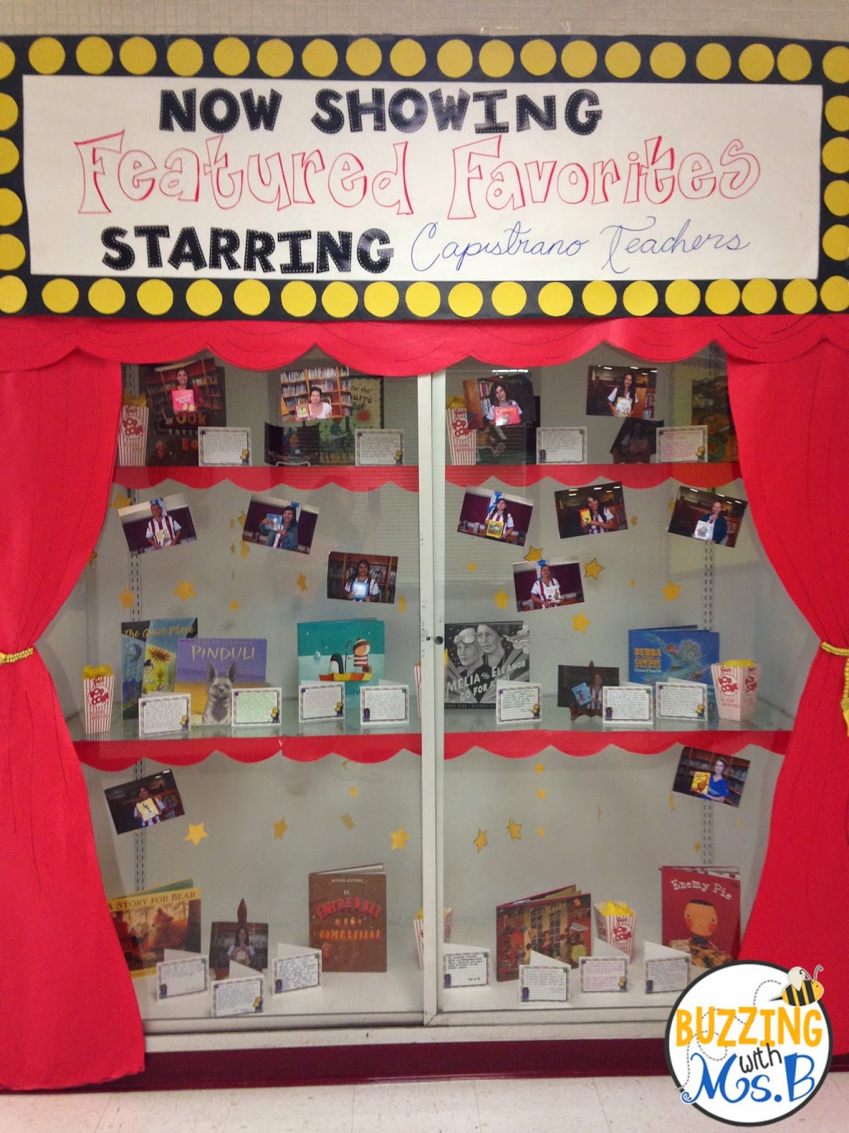 Buzzing with ms b movie themed bulletin boards and displays for Cork board displays