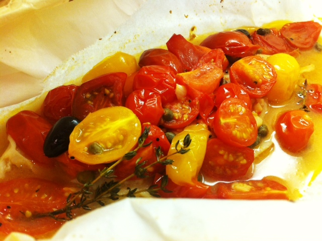 Sole En Papillote With Tomatoes And Olives Recipes — Dishmaps